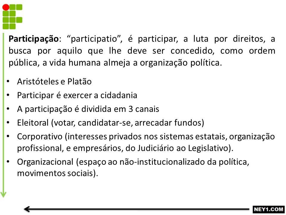 Participação: participatio , é participar, a luta por direitos, a busca por aquilo que lhe deve ser concedido, como ordem pública, a vida humana almeja a organização política.