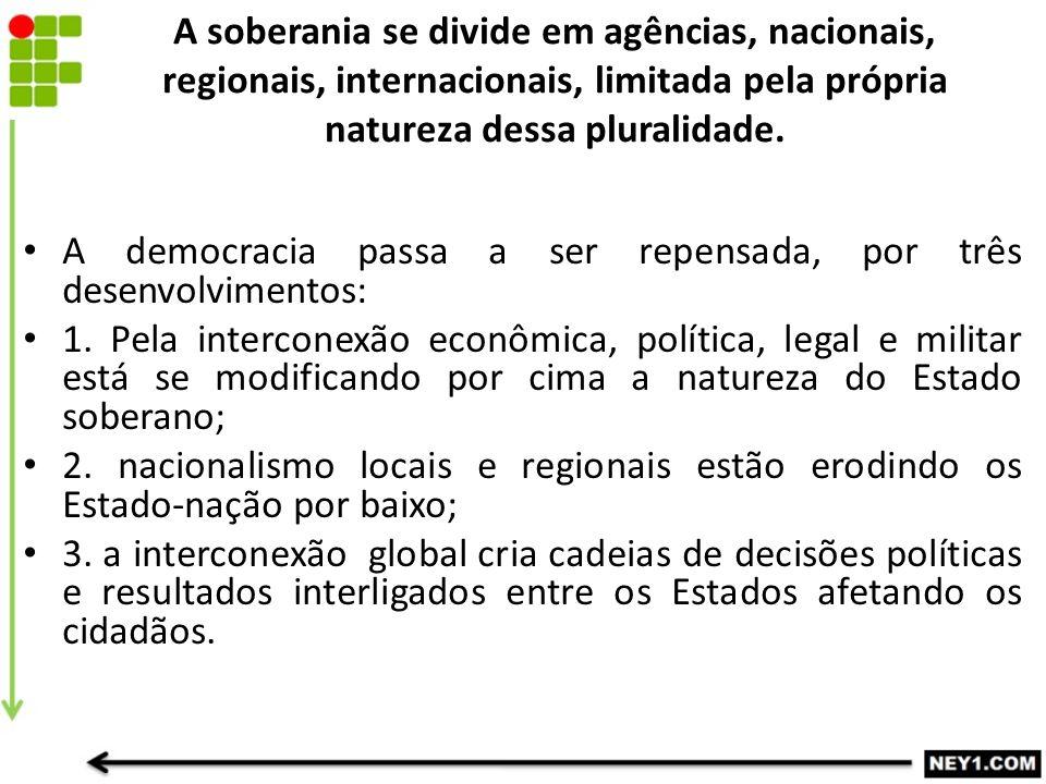A soberania se divide em agências, nacionais, regionais, internacionais, limitada pela própria natureza dessa pluralidade.