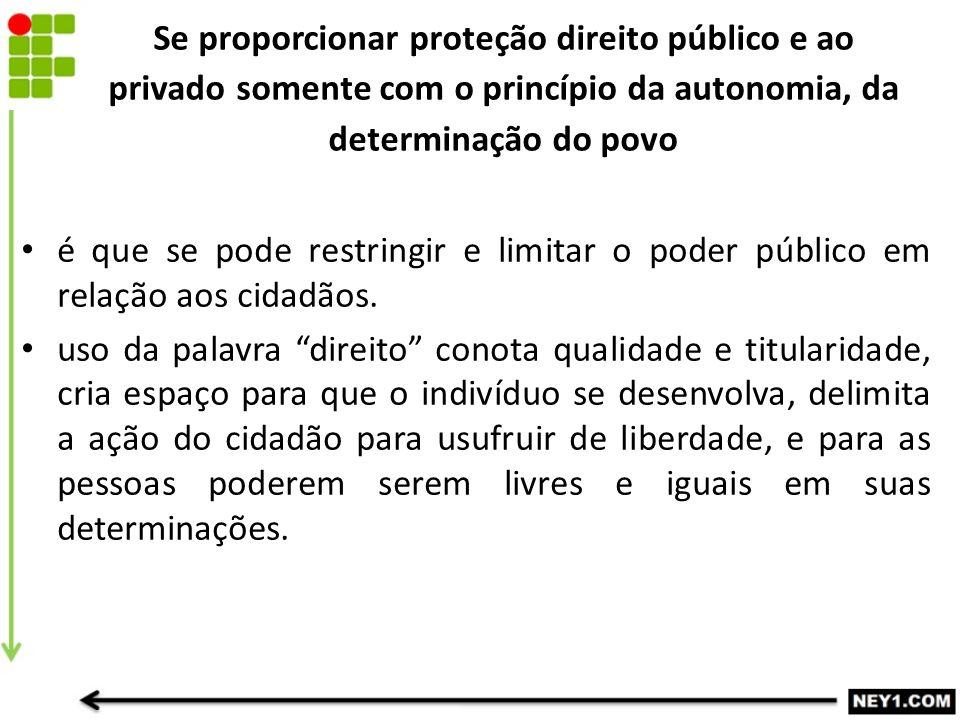 Se proporcionar proteção direito público e ao privado somente com o princípio da autonomia, da determinação do povo