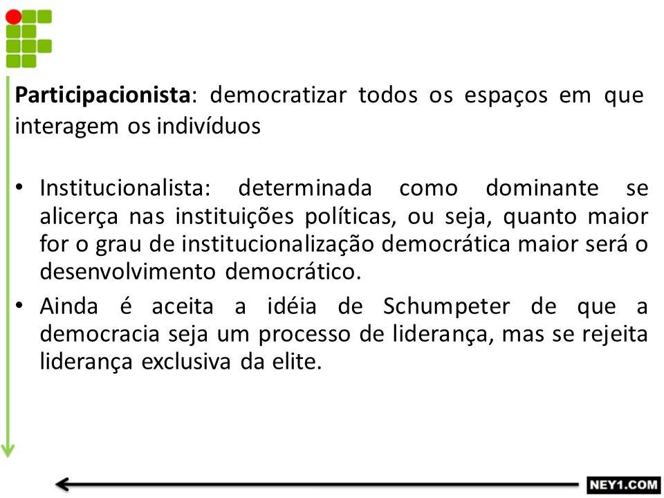 Participacionista: democratizar todos os espaços em que interagem os indivíduos