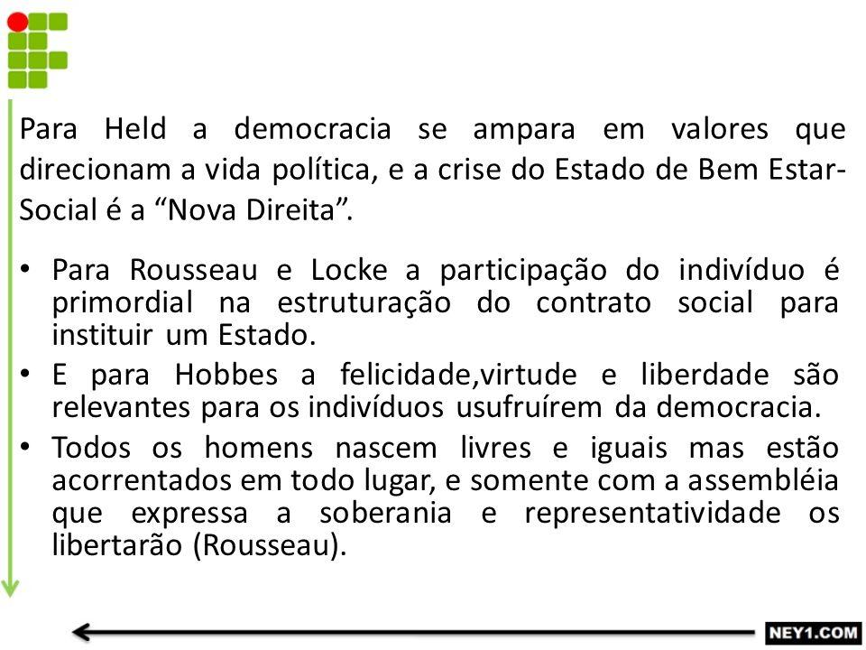 Para Held a democracia se ampara em valores que direcionam a vida política, e a crise do Estado de Bem Estar-Social é a Nova Direita .