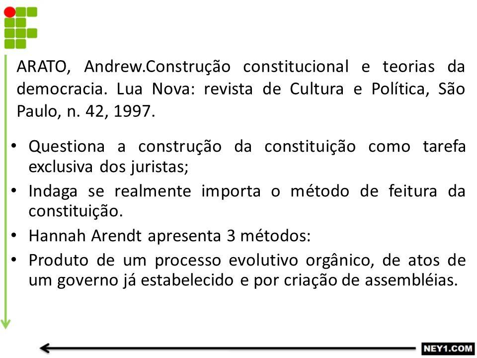 ARATO, Andrew. Construção constitucional e teorias da democracia