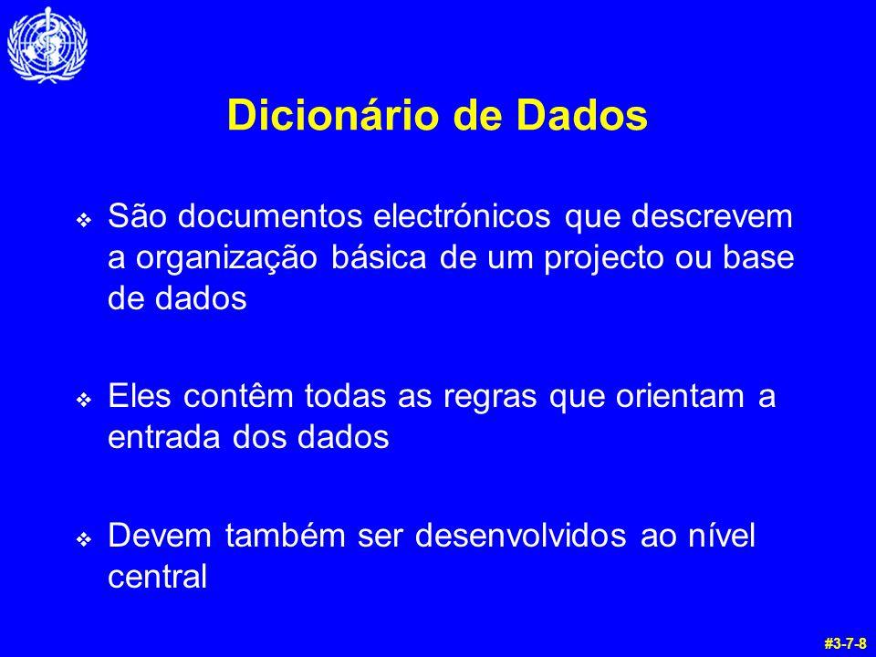 Dicionário de Dados São documentos electrónicos que descrevem a organização básica de um projecto ou base de dados.