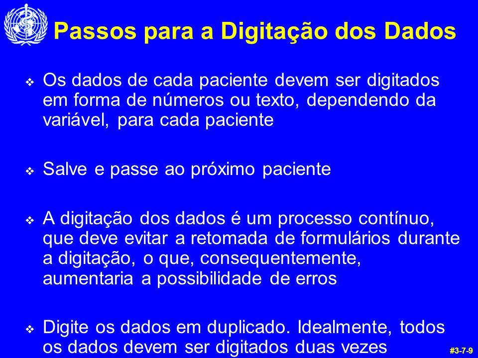 Passos para a Digitação dos Dados