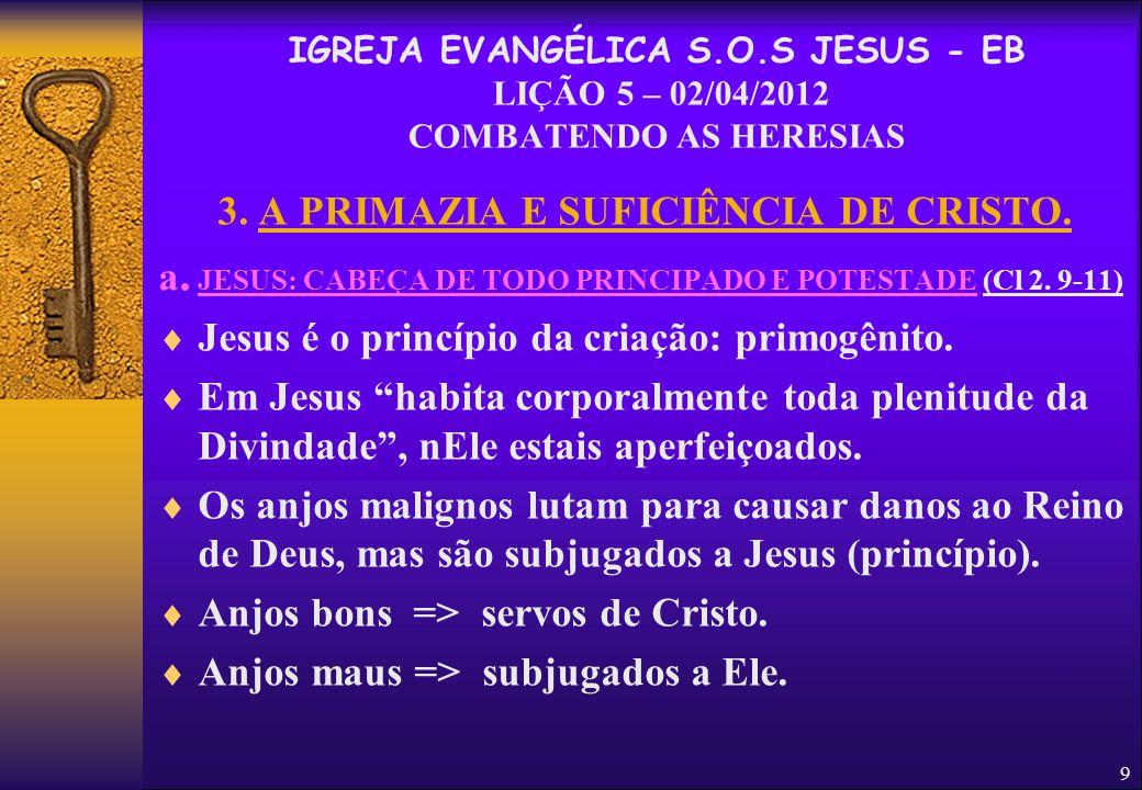 3. A PRIMAZIA E SUFICIÊNCIA DE CRISTO.