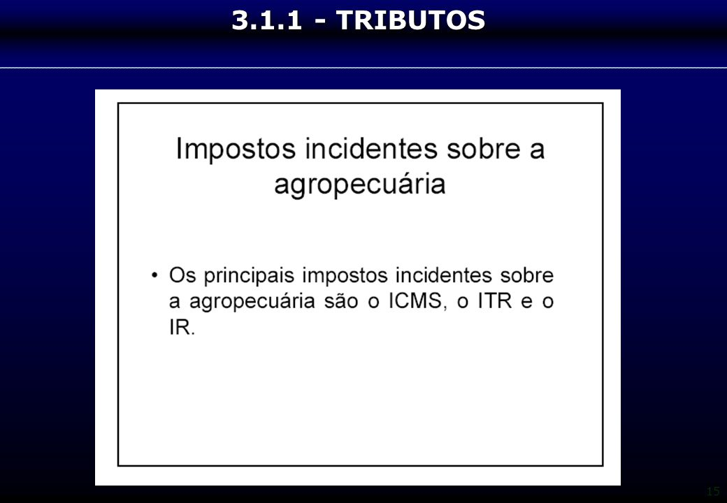 3.1.1 - TRIBUTOS