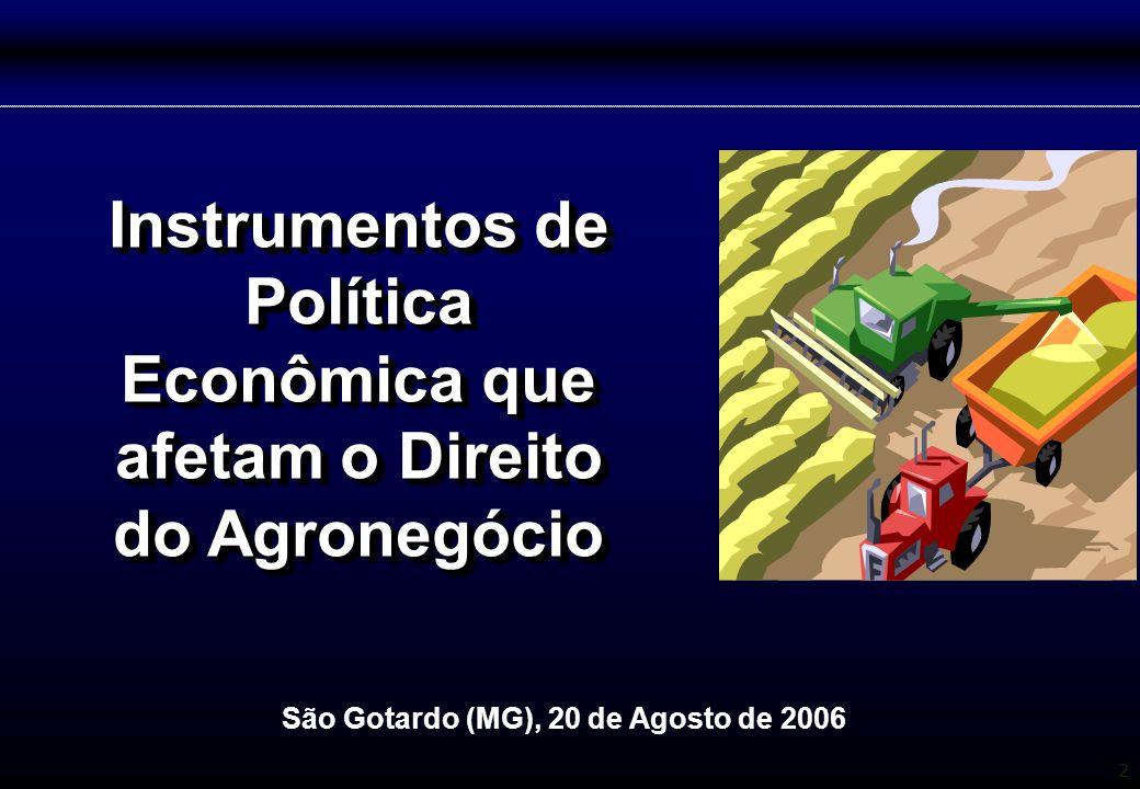 Instrumentos de Política Econômica que afetam o Direito do Agronegócio