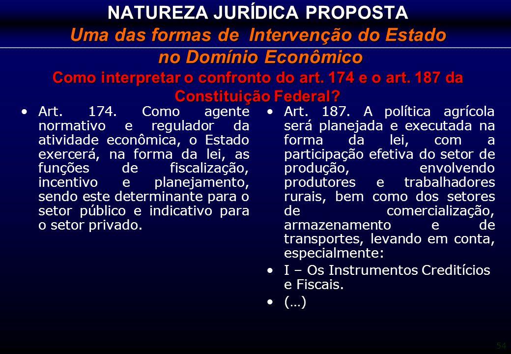 NATUREZA JURÍDICA PROPOSTA Uma das formas de Intervenção do Estado no Domínio Econômico Como interpretar o confronto do art. 174 e o art. 187 da Constituição Federal