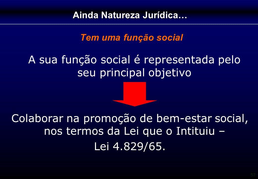 Ainda Natureza Jurídica… Tem uma função social