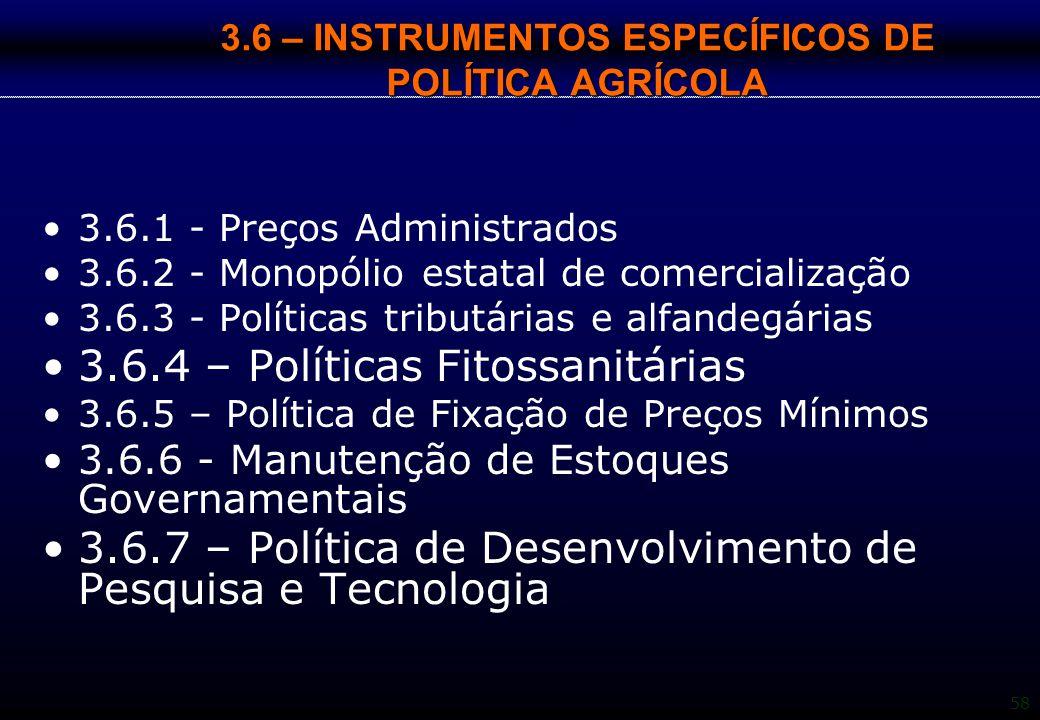 3.6 – INSTRUMENTOS ESPECÍFICOS DE POLÍTICA AGRÍCOLA