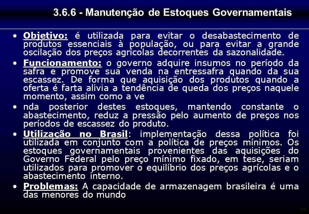 3.6.6 - Manutenção de Estoques Governamentais