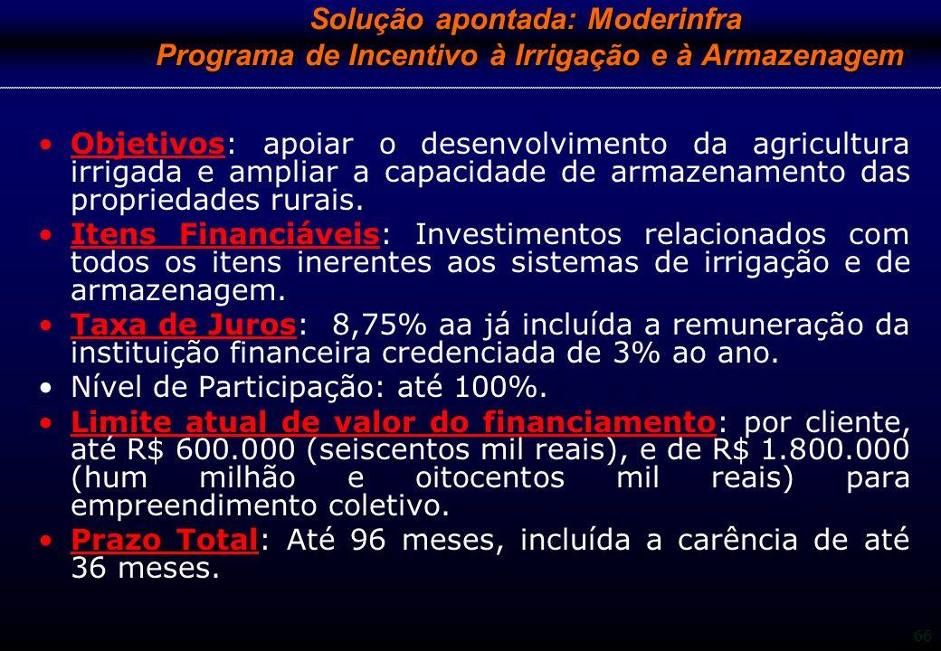 Solução apontada: Moderinfra Programa de Incentivo à Irrigação e à Armazenagem