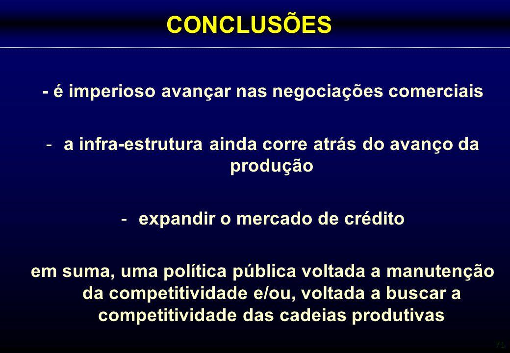 CONCLUSÕES - é imperioso avançar nas negociações comerciais