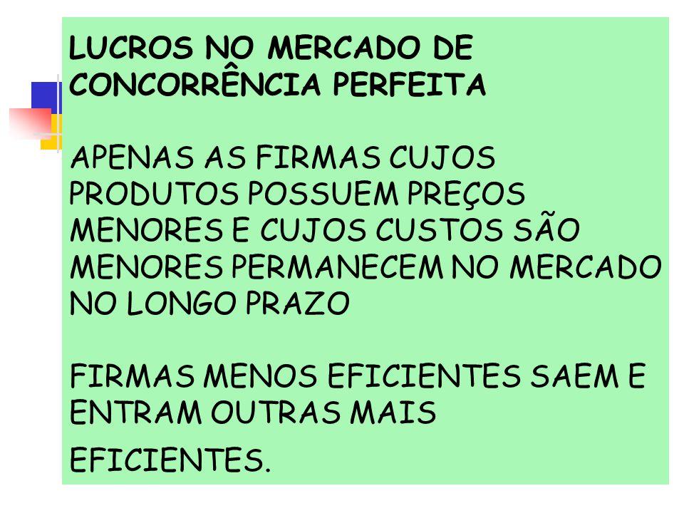 LUCROS NO MERCADO DE CONCORRÊNCIA PERFEITA APENAS AS FIRMAS CUJOS PRODUTOS POSSUEM PREÇOS MENORES E CUJOS CUSTOS SÃO MENORES PERMANECEM NO MERCADO NO LONGO PRAZO FIRMAS MENOS EFICIENTES SAEM E ENTRAM OUTRAS MAIS EFICIENTES.