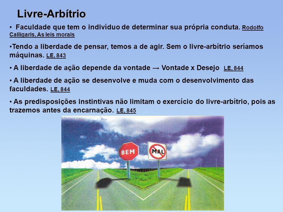 Livre-Arbítrio Faculdade que tem o indivíduo de determinar sua própria conduta. Rodolfo Calligaris, As leis morais.