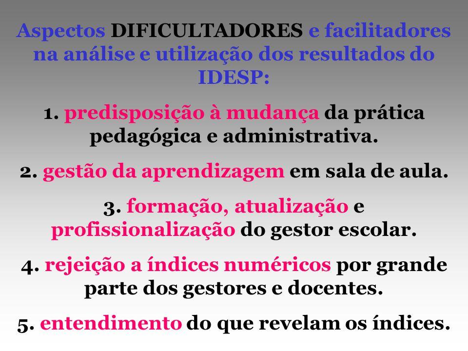 1. predisposição à mudança da prática pedagógica e administrativa.