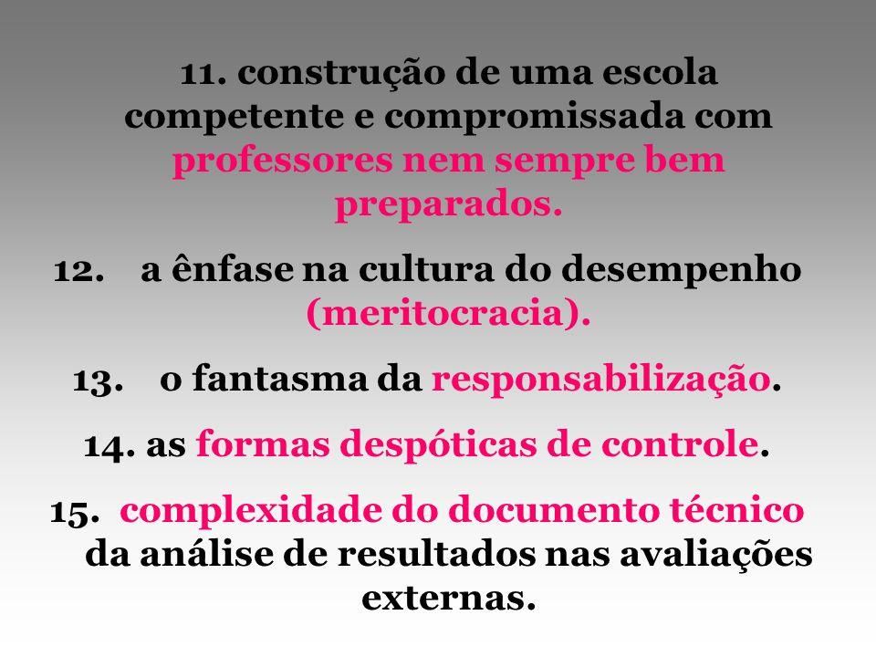 12. a ênfase na cultura do desempenho (meritocracia).