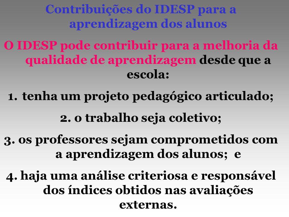 Contribuições do IDESP para a aprendizagem dos alunos