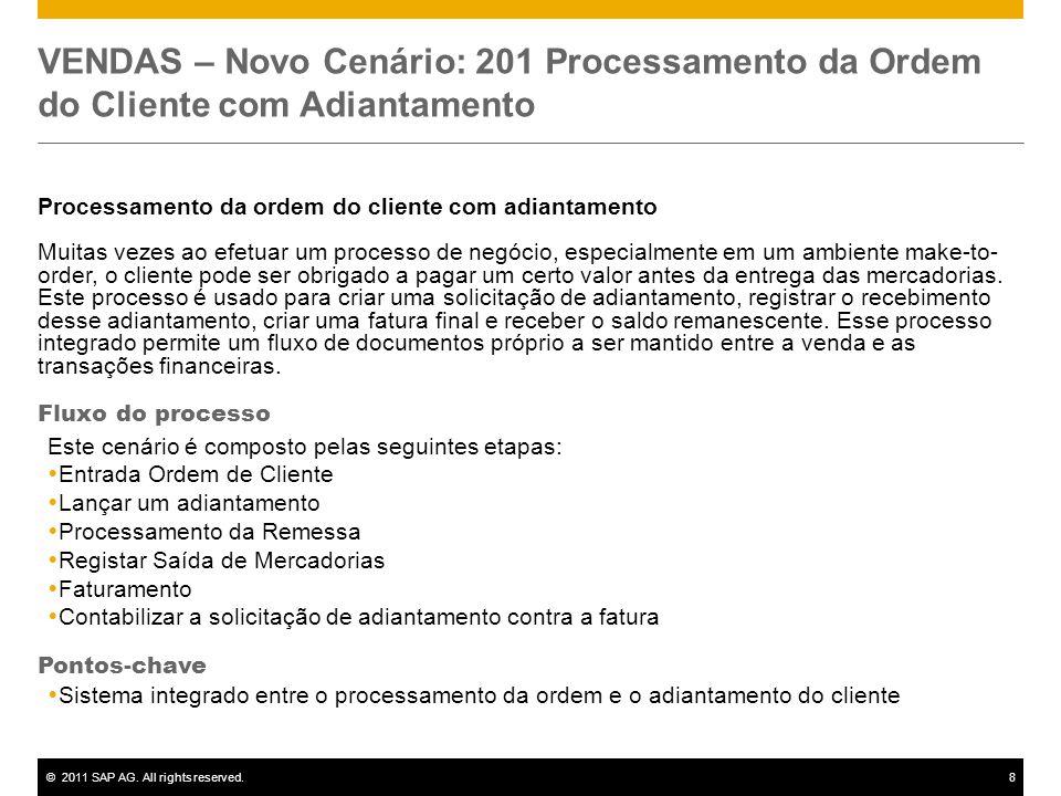VENDAS – Novo Cenário: 201 Processamento da Ordem do Cliente com Adiantamento