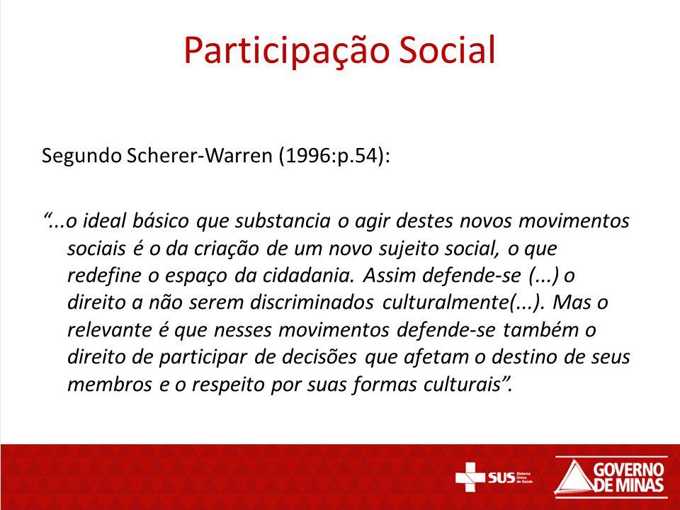 Participação Social Segundo Scherer-Warren (1996:p.54):