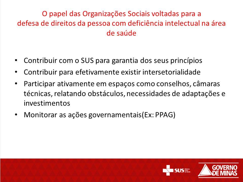 O papel das Organizações Sociais voltadas para a defesa de direitos da pessoa com deficiência intelectual na área de saúde