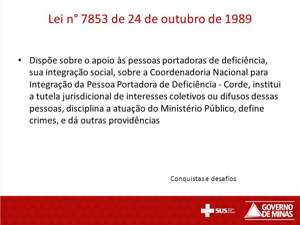 Lei n° 7853 de 24 de outubro de 1989