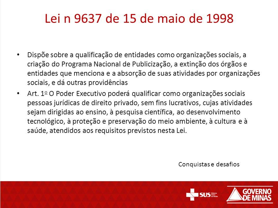 Lei n 9637 de 15 de maio de 1998