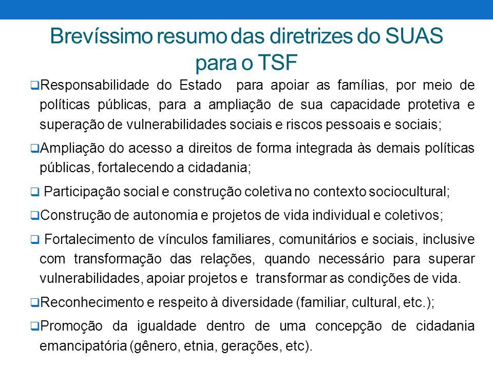 Brevíssimo resumo das diretrizes do SUAS para o TSF