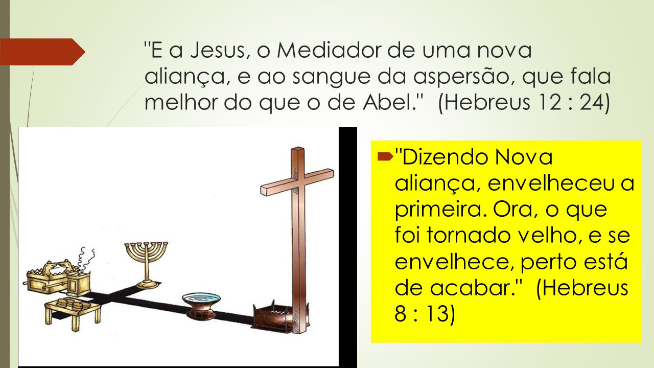 E a Jesus, o Mediador de uma nova aliança, e ao sangue da aspersão, que fala melhor do que o de Abel. (Hebreus 12 : 24)