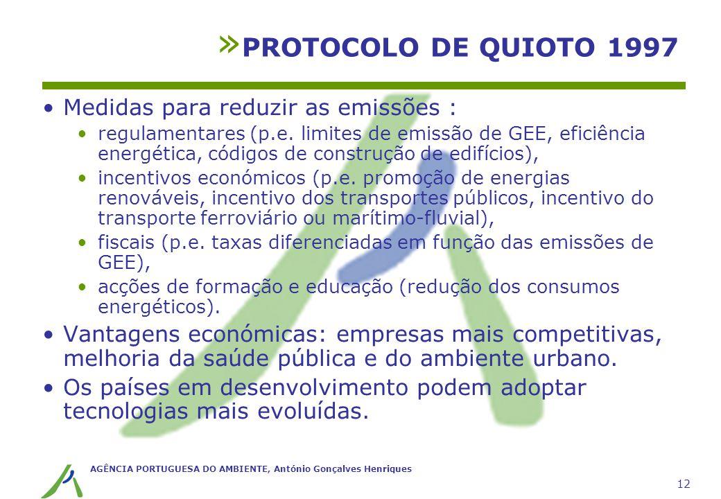 PROTOCOLO DE QUIOTO 1997 Medidas para reduzir as emissões :