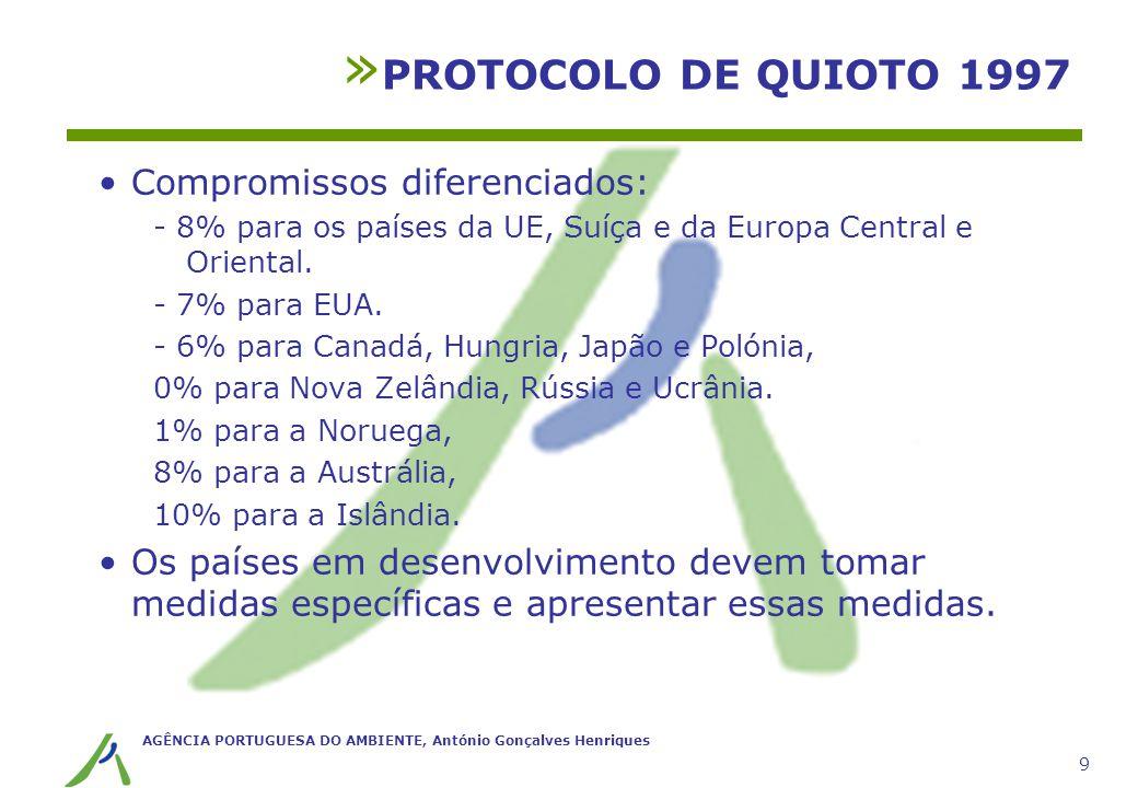 PROTOCOLO DE QUIOTO 1997 Compromissos diferenciados: