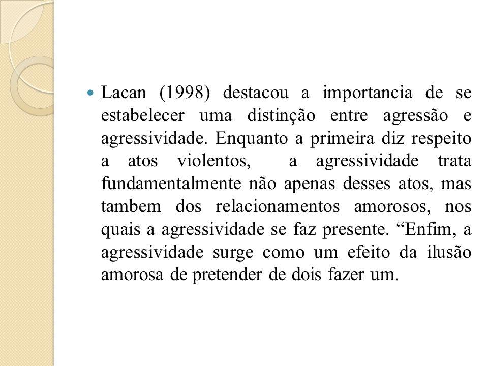 Lacan (1998) destacou a importancia de se estabelecer uma distinção entre agressão e agressividade.