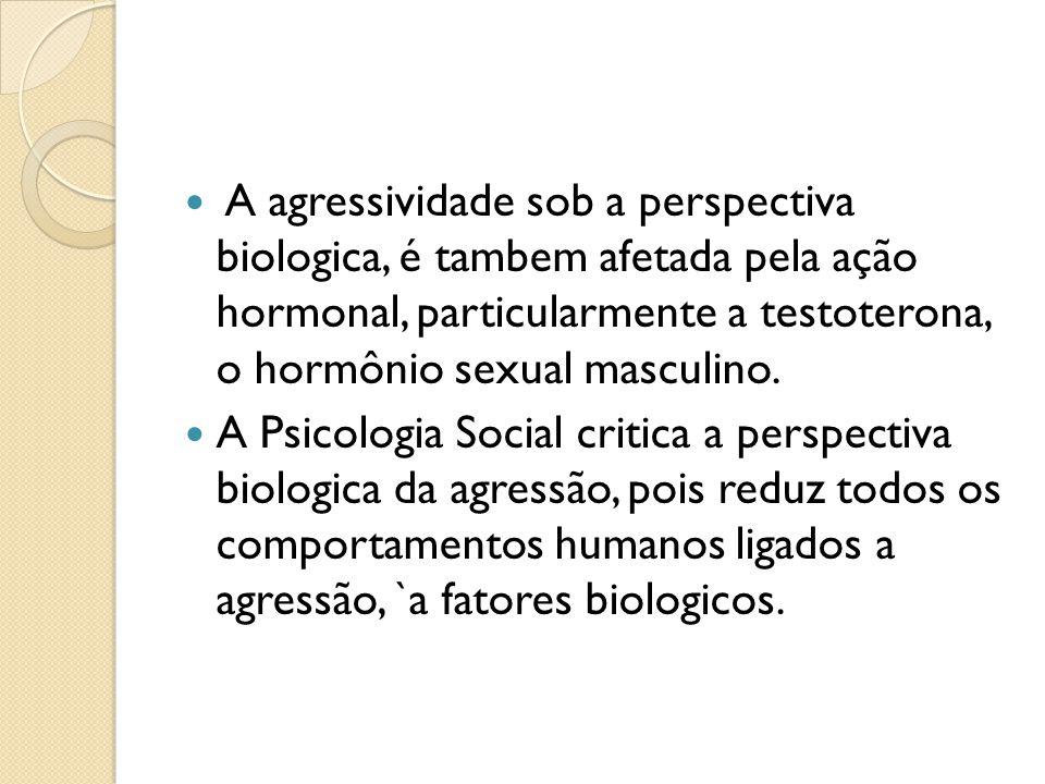 A agressividade sob a perspectiva biologica, é tambem afetada pela ação hormonal, particularmente a testoterona, o hormônio sexual masculino.
