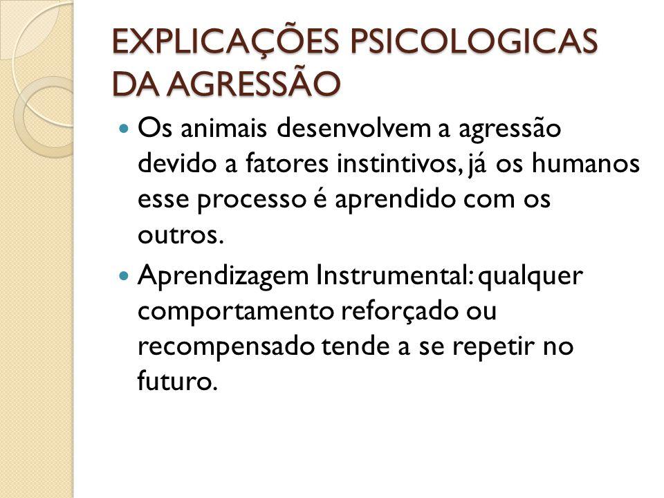 EXPLICAÇÕES PSICOLOGICAS DA AGRESSÃO
