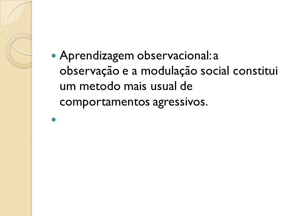 Aprendizagem observacional: a observação e a modulação social constitui um metodo mais usual de comportamentos agressivos.