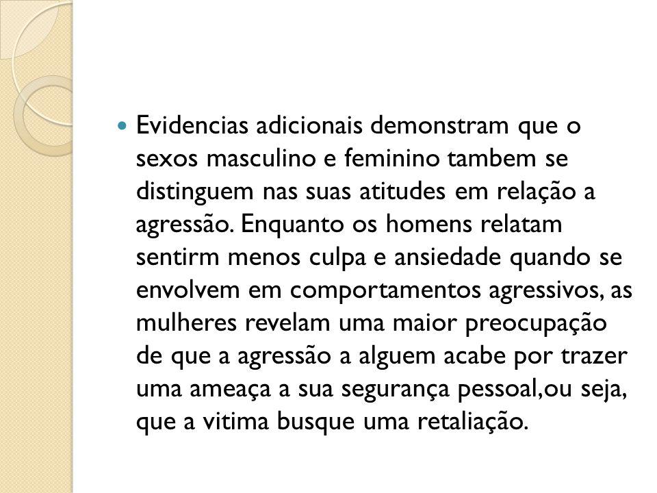 Evidencias adicionais demonstram que o sexos masculino e feminino tambem se distinguem nas suas atitudes em relação a agressão.