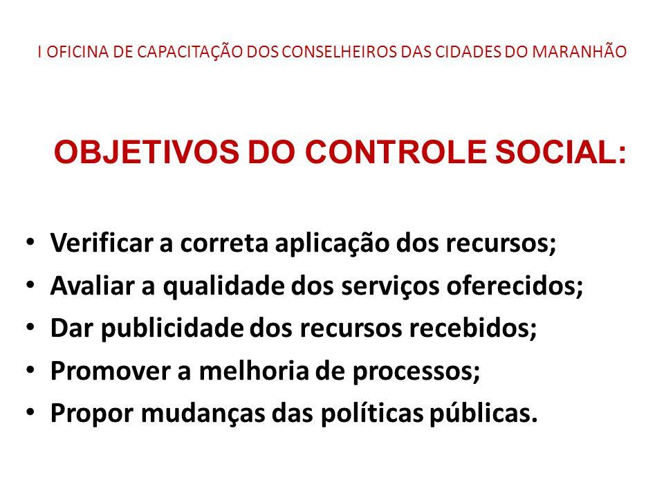 I OFICINA DE CAPACITAÇÃO DOS CONSELHEIROS DAS CIDADES DO MARANHÃO