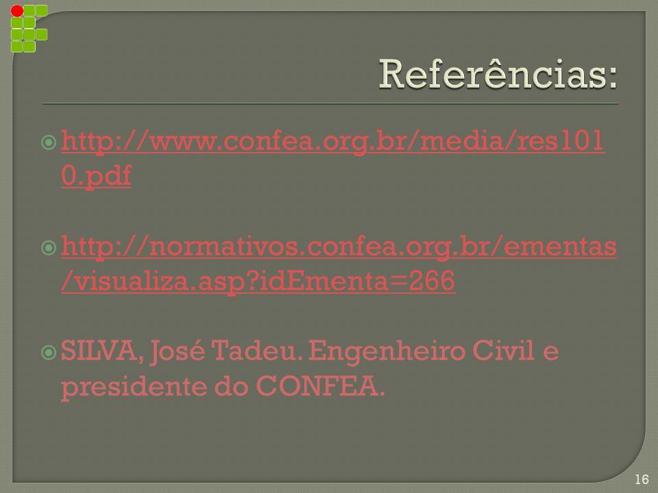 Referências: http://www.confea.org.br/media/res1010.pdf