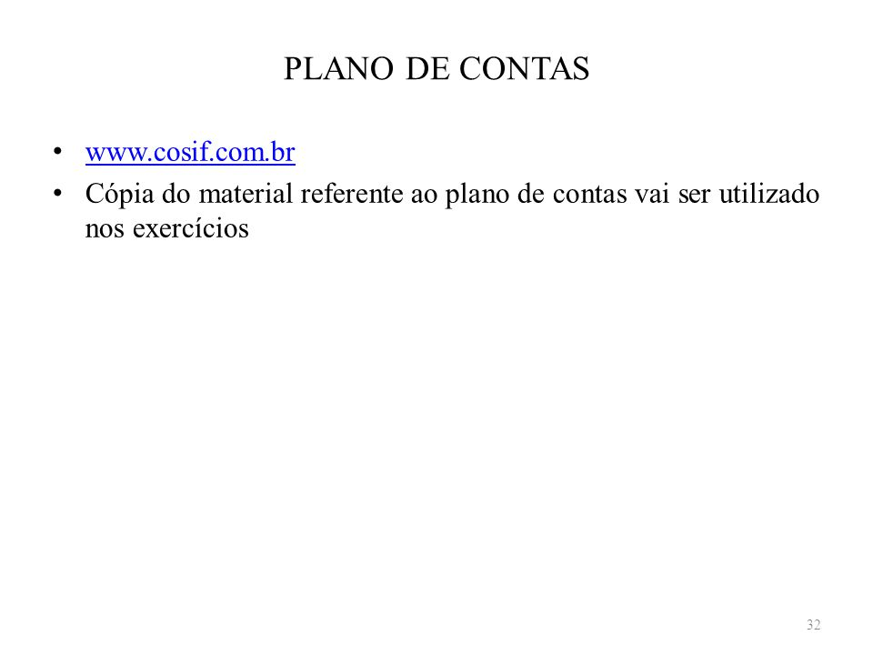 PLANO DE CONTAS www.cosif.com.br