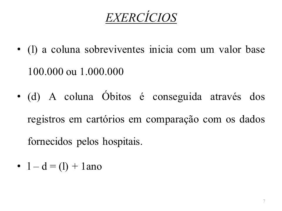 EXERCÍCIOS (l) a coluna sobreviventes inicia com um valor base 100.000 ou 1.000.000.