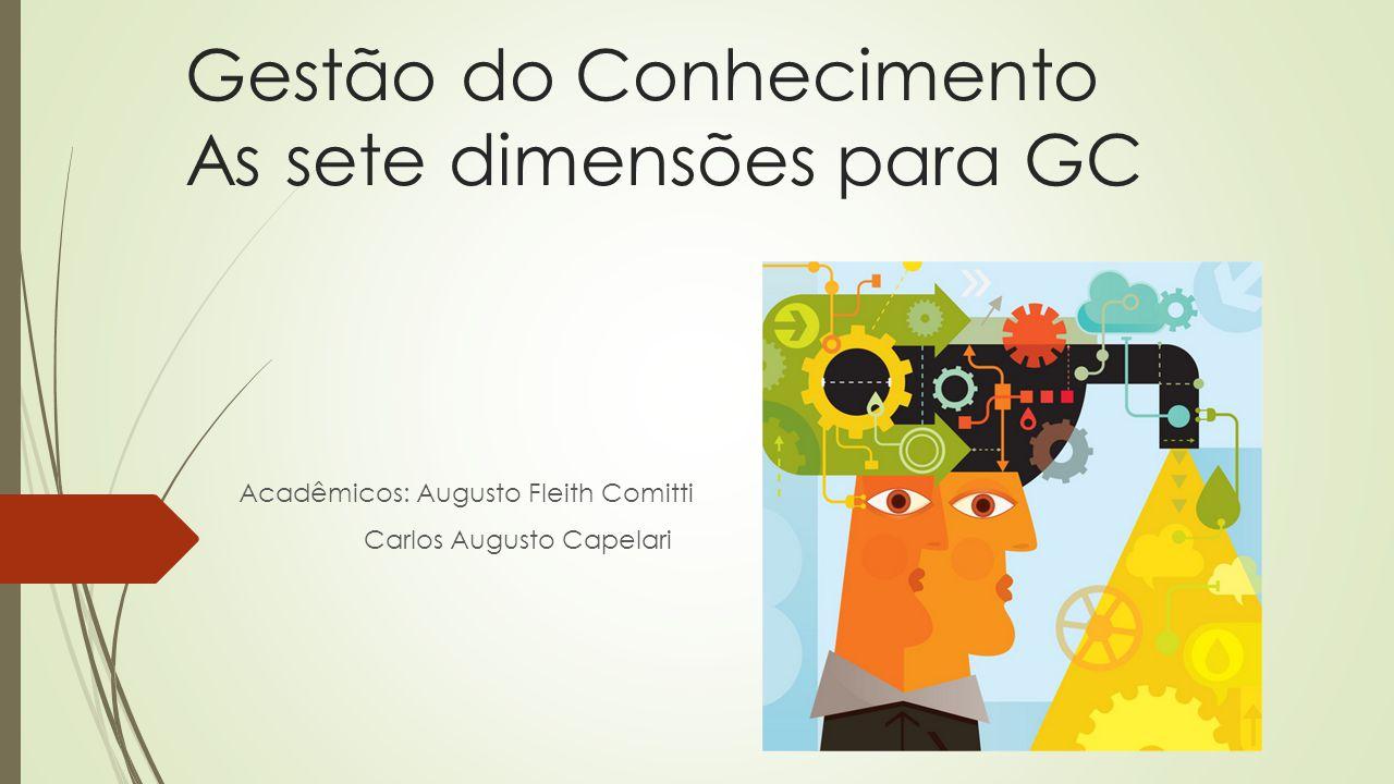 Gestão do Conhecimento As sete dimensões para GC
