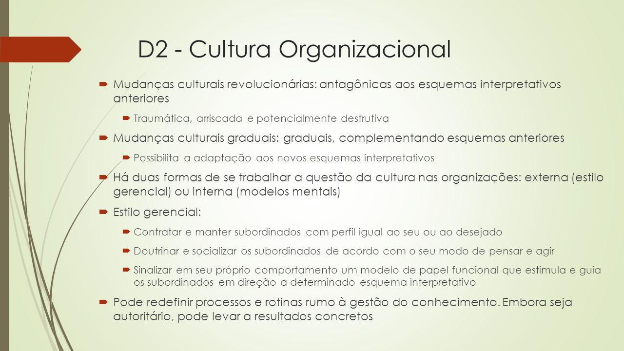 D2 - Cultura Organizacional