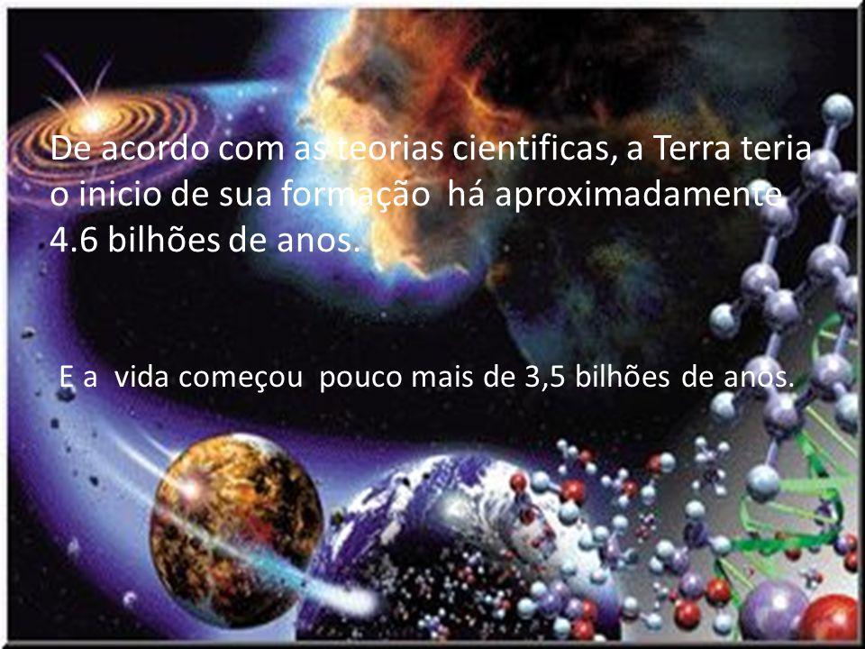De acordo com as teorias cientificas, a Terra teria o inicio de sua formação há aproximadamente 4.6 bilhões de anos.