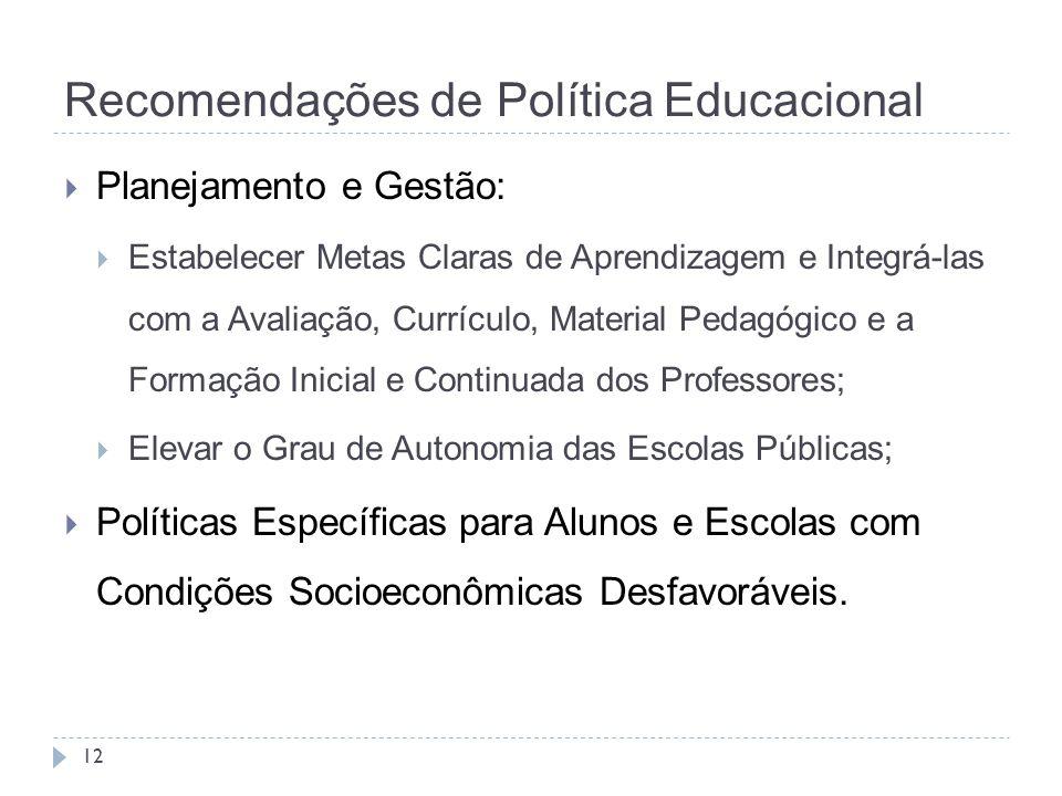 Recomendações de Política Educacional