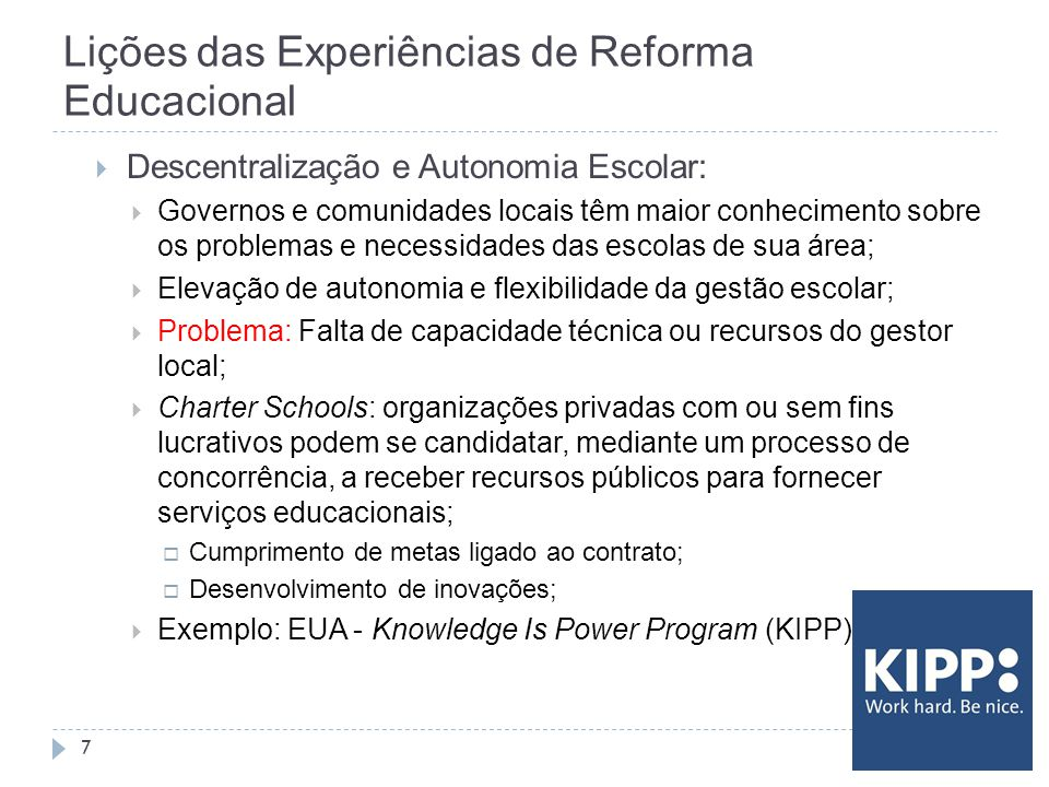 Lições das Experiências de Reforma Educacional