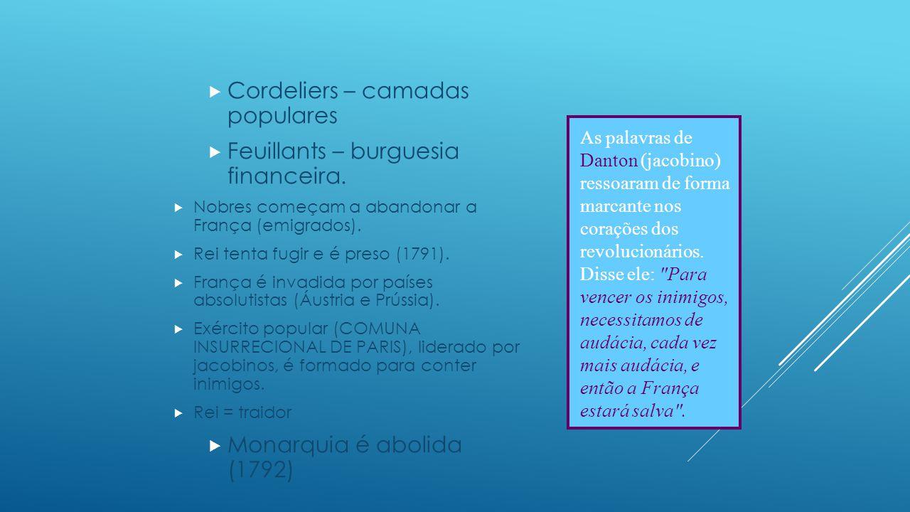 Cordeliers – camadas populares Feuillants – burguesia financeira.