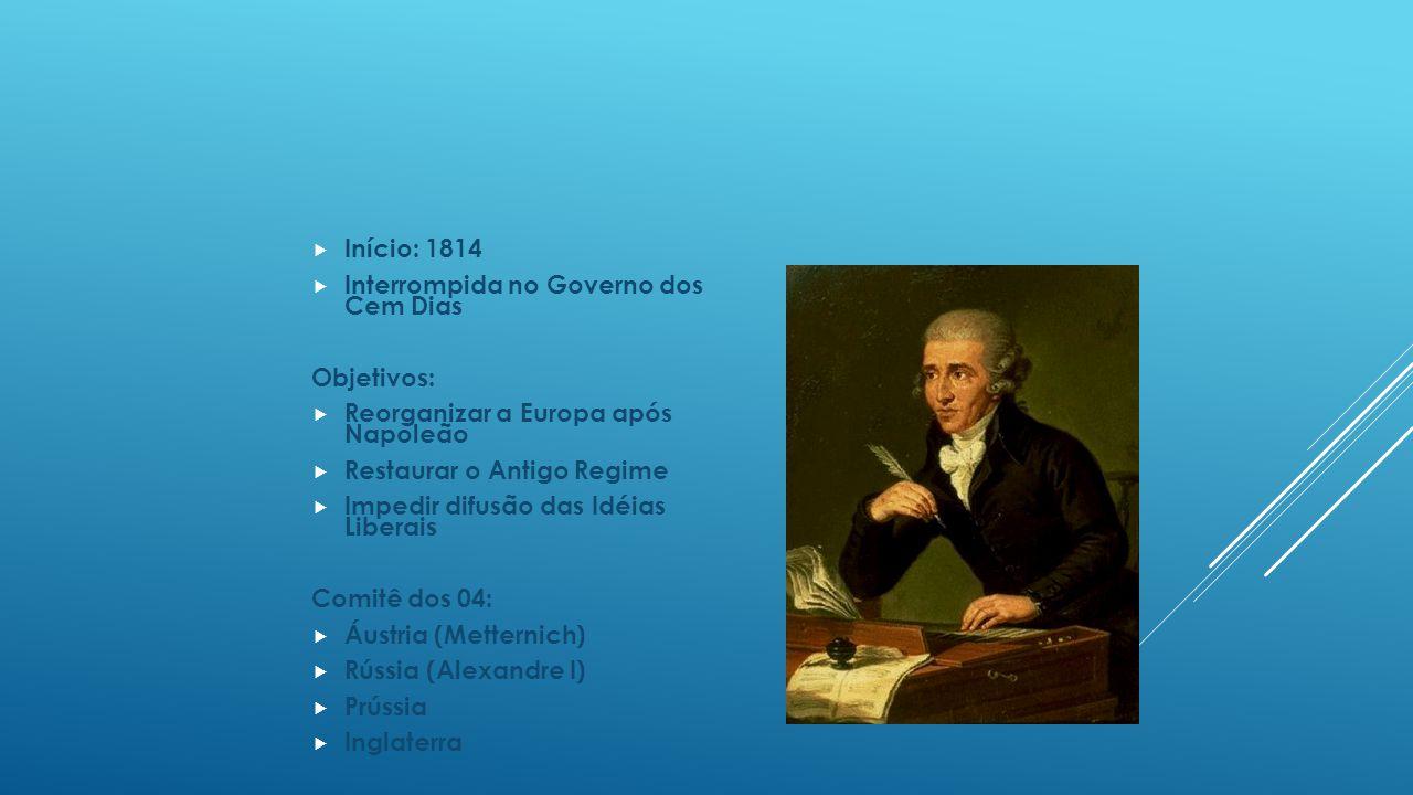 Início: 1814 Interrompida no Governo dos Cem Dias. Objetivos: Reorganizar a Europa após Napoleão.