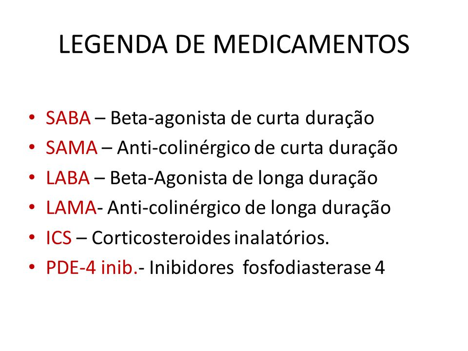 LEGENDA DE MEDICAMENTOS