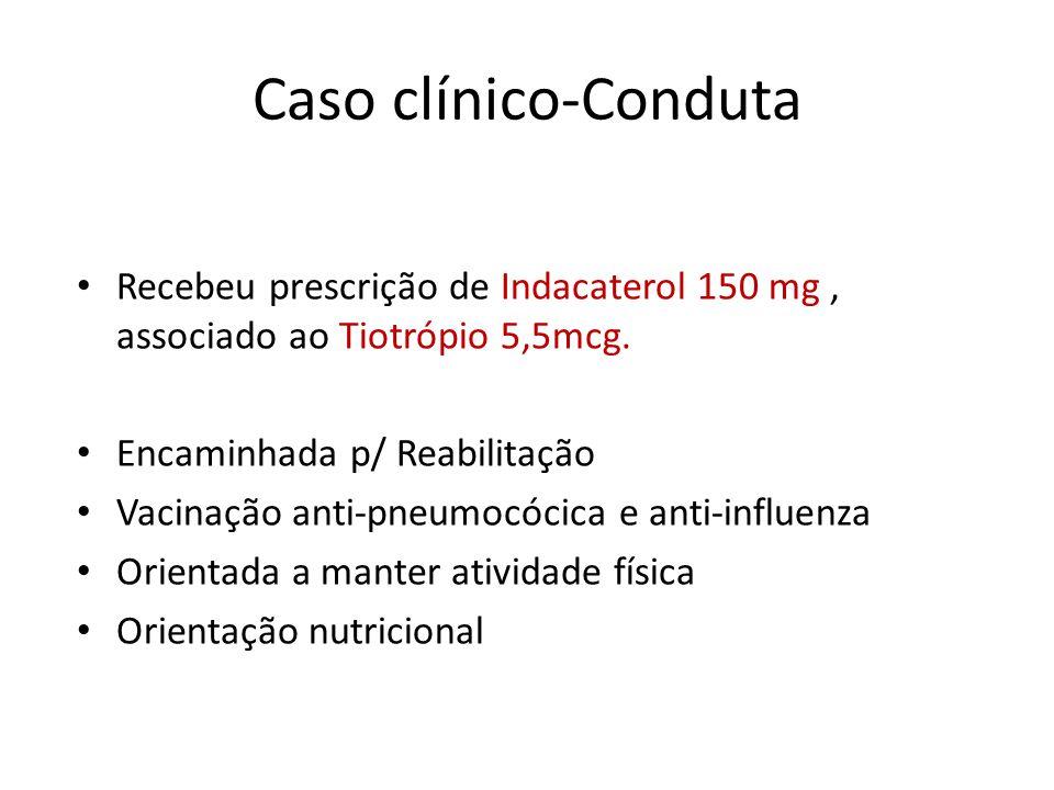 Caso clínico-Conduta Recebeu prescrição de Indacaterol 150 mg , associado ao Tiotrópio 5,5mcg. Encaminhada p/ Reabilitação.