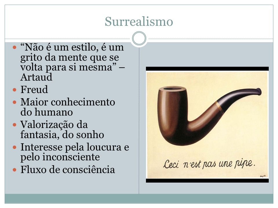 Surrealismo Não é um estilo, é um grito da mente que se volta para si mesma – Artaud. Freud. Maior conhecimento do humano.